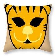 El Tigre Luchador Orange Black Beige Throw Pillow