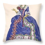 Elaborate Court Dress In Electric Blue Throw Pillow