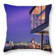 Elbe River With Waterfront Skyline Throw Pillow