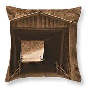 Elder Mill Covered Bridge Throw Pillow