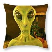 Elderly Alien Throw Pillow