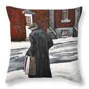 Elderly Gentleman  In Pointe St. Charles Throw Pillow