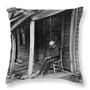 Elderly Man Doses On His Porch Throw Pillow