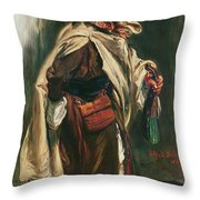 Elderly Moroccan Jew, 1867 Oil On Canvas Throw Pillow