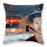 Elderly Vietnamese Woman Wearing A Conical Hat Altered Version Throw Pillow