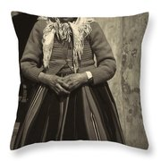 Elderly Woman In Black And White Throw Pillow