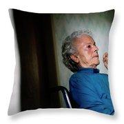 Elderly Woman Sitting In A Wheel Chair Throw Pillow