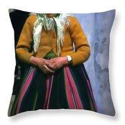 Elderly Woman Stylized Digital Art Throw Pillow