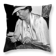 Eleanor Roosevelt Knitting Throw Pillow by Underwood Archives