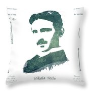 Electric Arc Lamp Patent Art Nikola Tesla Throw Pillow