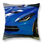 Electric Blue Corvette Throw Pillow