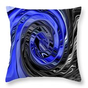 Electric Blue Wound Into Black And White Abstract Throw Pillow