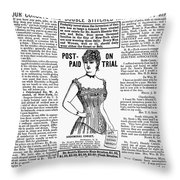 Electric Corset, 1887 Throw Pillow