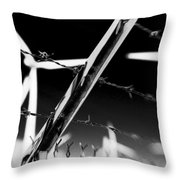 Electric Fence Black And White Throw Pillow