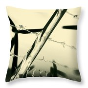 Electric Fence Silhouette Throw Pillow