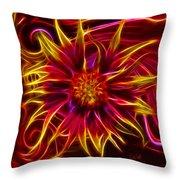 Electric Firewheel Flower Artwork Throw Pillow