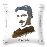 electric generator patent art Nikola Tesla Throw Pillow