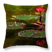 Electric Lily Pad Throw Pillow