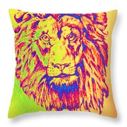 Electric Lion Throw Pillow