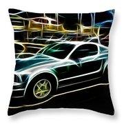 Electric Mustang Throw Pillow