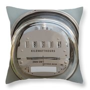 Electric Power Supply Watthour Meter Glass Covered Throw Pillow