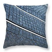 Electric Rail On Portuguese Traditional Pavement Throw Pillow