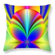 Electric Rainbow Orb Fractal Throw Pillow