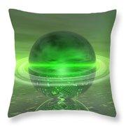 Electronic Green Saturn Throw Pillow