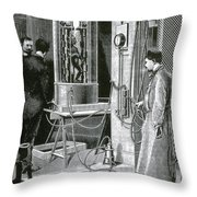 Electroplating The Dead, 1891 Throw Pillow