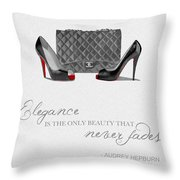 Elegance Never Fades Black And White Throw Pillow
