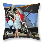 Elegant 1940s Style Pin-up Girl Throw Pillow
