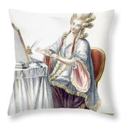 Elegant Lady At Her Dressing Table Throw Pillow by Pierre Thomas Le Clerc
