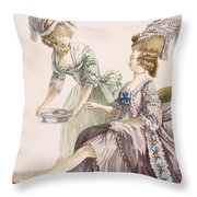 Elegant Lady Having Her Feet Washed Throw Pillow