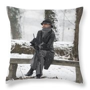 Elegant Woman Sitting On A Bench Throw Pillow