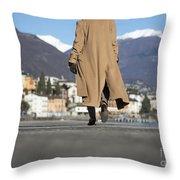 Elegant Woman Walking Throw Pillow