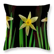 Elegant Yellow Flowers On Green Shoots Throw Pillow
