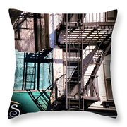 Elemental City - Fire Escape Graffiti Brownstone Throw Pillow