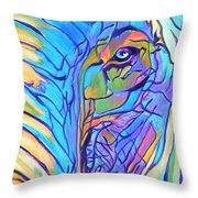 Elephant - Sky Blue Throw Pillow