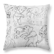 Elephant Acts, 1880s Throw Pillow
