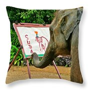 Elephant Artist In Mae Taeng Elephant Park Near Chiang Mai-thailand Throw Pillow