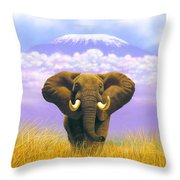 Elephant At Table Mountain Throw Pillow