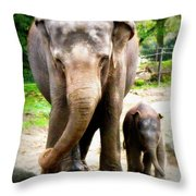 Elephant Baby Olli With Mommy Throw Pillow
