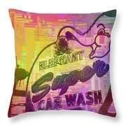 Elephant Car Wash Cubed Throw Pillow
