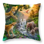 Elephant Falls Throw Pillow