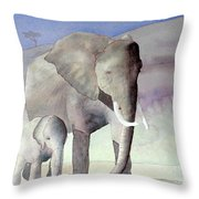 Elephant Family Throw Pillow