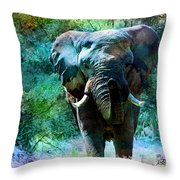 Elephant - Featured In Comfortable Art- Wildlife- And Nature Wildlife Groups Throw Pillow