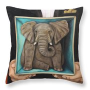 Elephant In A Box Throw Pillow
