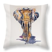 Elephant In Gold Throw Pillow