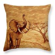 Elephant Majesty Original Coffee Painting Throw Pillow