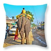 Elephant Ride In Street Throw Pillow